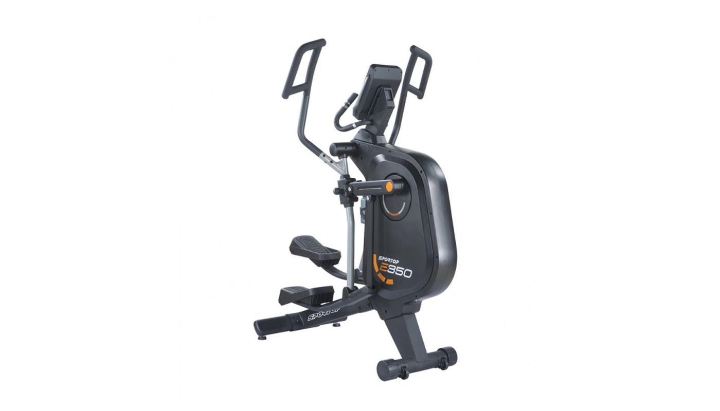 Space-saving elliptical with front flywheel, pitch adjustable and 7'' touch screen