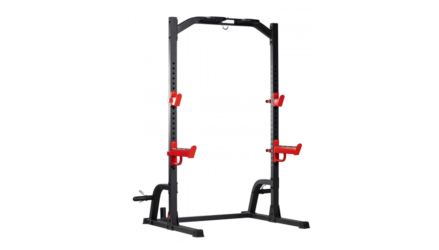 Squat half rack with traction bar for discs and olympic barbell holder