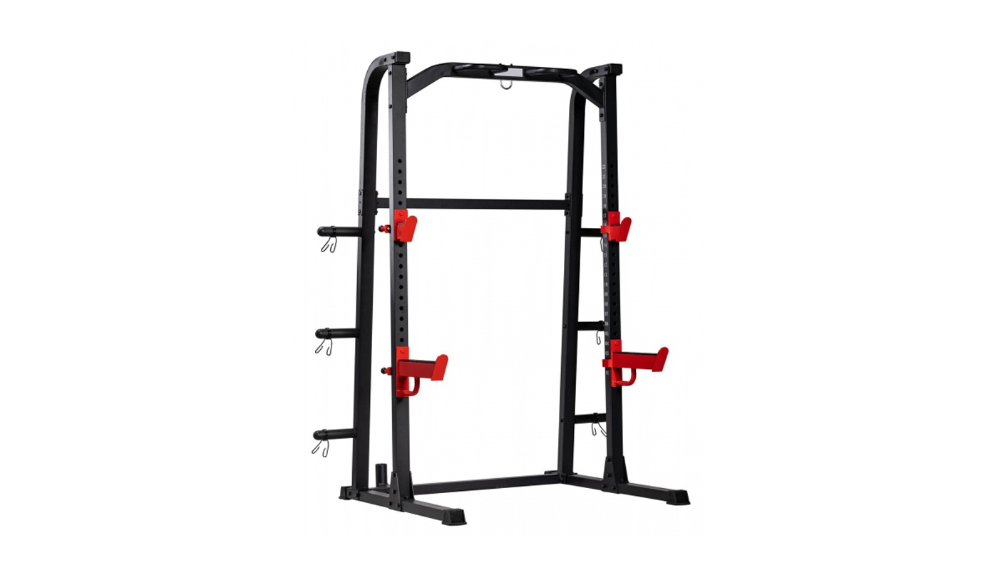 Squat half rack, double rack with traction bar for discs and olympic barbell holder