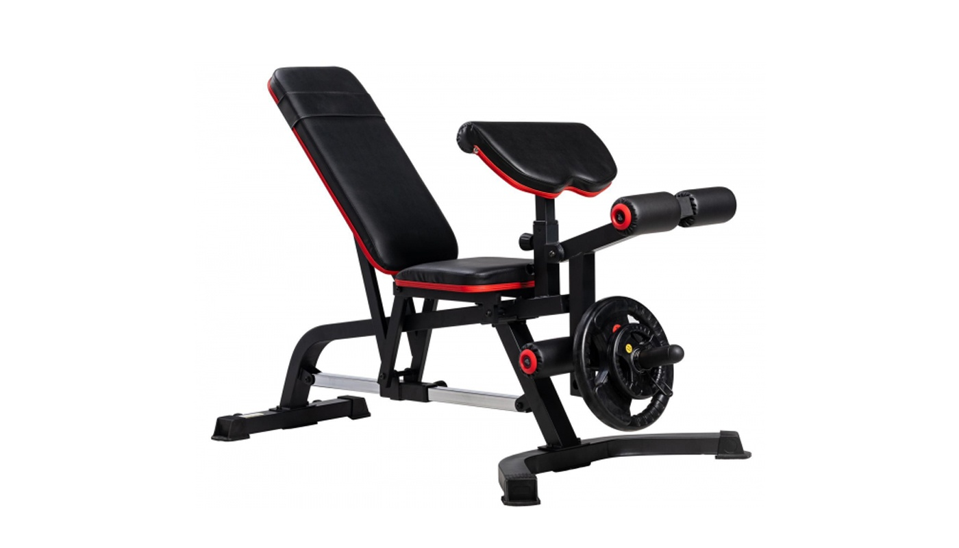 PRO adjustable bench with negative incline, arm curl leg extension